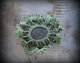 Sprouting Fern Stone, Crocheted Lace Stone, Original, Handmade, Unique, Gift, Table Decoration, Collectible, Monicaj