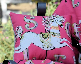 Shopping Cart Cover - Boutique Shopping Cart Cover for Baby Girl  - Carousel in Pink