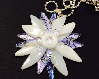 Fused Glass Dichroic Flower Pendant/ necklace (White)