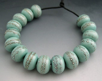 NEW Naos Glass GLOSSY Celadon Set Made To Order Handmade Lampwork Beads SRA Copper Green