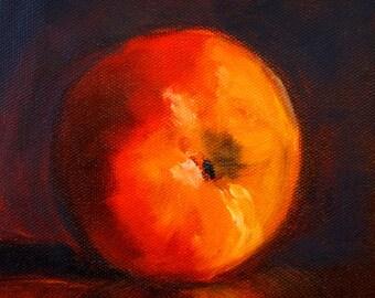 Peach Still Life, Original Oil Painting, Small 6x6 Canvas, Brown Orange, Minimalist Kitchen, Wall Decor, Food Art, Square Art, Fruit
