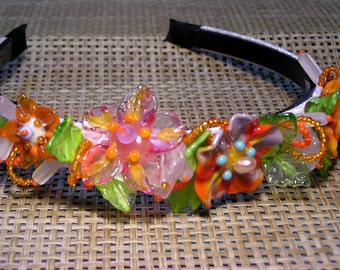 Handmade lampwork beads wedding bridal bohemian tiara/headband - orange flowers