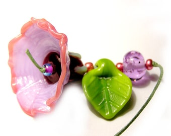 Handmade lampwork sculpture bell flower bead focal lavender pink with leaf