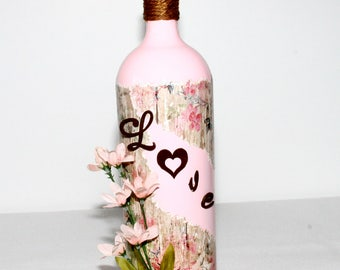 Pink Love Decorative Wine Bottle Gift Handmade Home Decor Floral