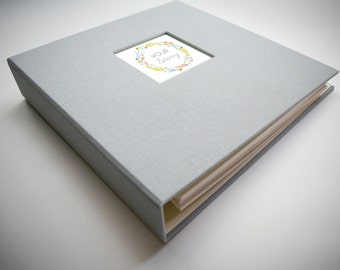 Girl Baby Book, A Unique Modern Baby Book for the First Year (Gray Cover, Wreath Insert, 9.25 x 9.5)