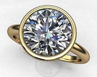 sasha ring - 2.7 carat round brilliant cut NEO moissanite engagement ring, colorless NEO moissanite