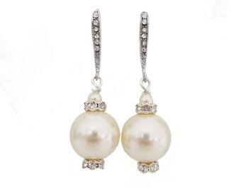 Pearl Bridal Earrings, Wedding Earrings Pearl, Large Pearl Earrings, Pearl Crystal Earrings, Vintage Style Wedding Jewelry, Ivory Earrings