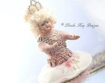 Art Doll Ballerina Dancer Doll Decoration Muted Colors Soft Flowers Romantic Decor Lorelie Kay Original