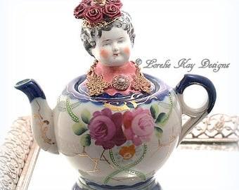Roses Functional Teapot Art Doll  Mixed Media Assemblage Pink Roses Art Tea Pot OOAK Art Doll