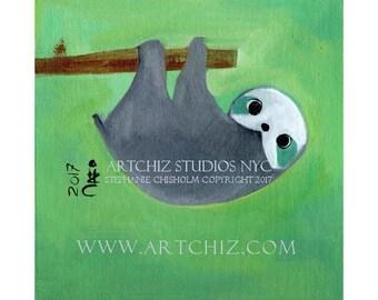 Baby Sloth. Sloth Art. Art Print. Lime Green.  Tree Branch. Baby Shower Gift. Children's illustration. Kids art. Poster  - Slothie Pooh