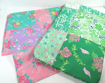Lilly Pulitzer fabric placemats, hand made patchwork quilt style placemats, set of 7