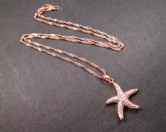 Starfish Pendant Necklace, Rose Gold Chain Necklace, White Glass Rhinestone Pave Necklace, FREE Shipping U.S.