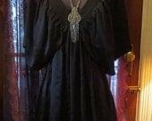 SALE Black SILK Plunging Neck Blouse Dress Kimono, Size 4 Gothic Witch Priestess