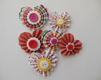 Heart Rosette Embellishments - Reds, Yellows and Pinks - Baby Shower Decorations - Birthday Party Decorations - Set of 6