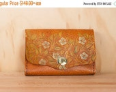 JANUARY SALE Leather Box Clutch - Tooled Leather with Flowers - Leather Wristlet - Leather Clutch - Waist Bag -  Blue, Green and antique tan