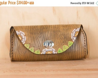 JANUARY SALE Small Leather Clutch - Handmade in the Emerson Owl Pattern with Owl and Woodgrain - Leather Purse, Clutch, Wristlet, or Waist B