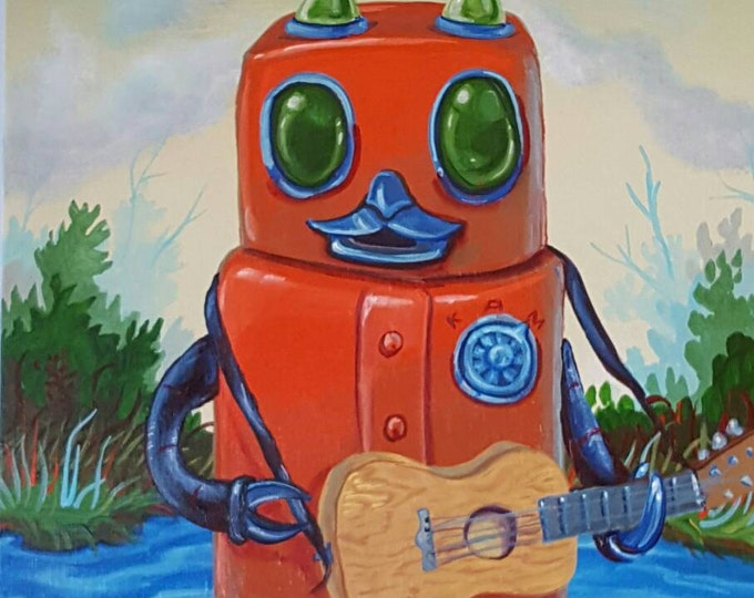Robot with Guitar - Original painting by Mr Hooper of Nashville Tennessee