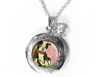 Precious Puppy locket,dog lockets...gift box,lockets, personlized lockets,dog jewelry, pugs,terriers,personalize the interior optional,retro