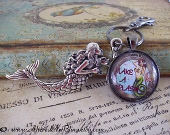 Mermaid key ring, mermaid art,  key rings, mermaids, key chain, key holder,keychain,key ring holder,key chains for women, mermaid art