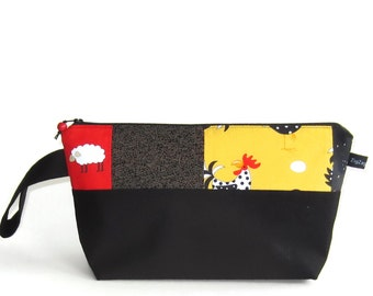 Wedge Bag, Small-Project Knitting Bag, Patchwork Chickens and Sheep