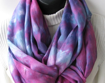 Infinity Scarf for Women Raspberry Passion Unique Handmade Scarves  Womens Summer Fashion Accessory Cowl Scarf Loop Scarf Hand Dyed Scarf