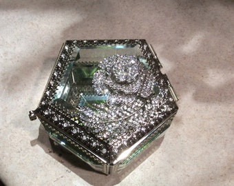 Beveled Glass Box with Crystal Overlay