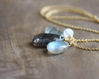 Gemstone necklace - tourmalinated quartz, labradorite, moss aquamarine & rainbow moonstone - gold briolette cluster necklace - gift for her