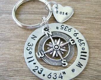 Longitude Latitude Keychain, GPS coordinates keychain, Anniversary keychain, location keychain, GPS keychain, wedding gift, anniversary gift