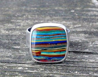 20% OFF Mothers Day Sale Rainbow Calsilica sterling silver ring