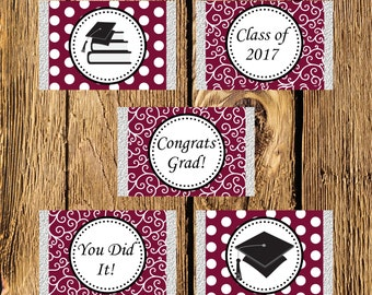 Printable Maroon and White Graduation Mini Candy Bar Wrappers - Instant Download