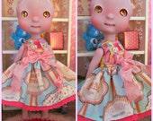 Cerise Tiny BJD Candy Store Babydoll Dress by Tickled Pink by Julie