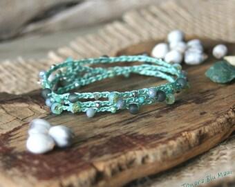 Crocheted Bracelet Wrap, Crocheted Ankle Wrap, Stacking Bracelet, Beachy Bracelet, Boho Bracelet, Summer Bracelet, Spring Bracelet, Aqua