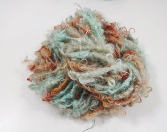 Verdigris Handspun Yarn Bulky Art Yarn 32 yards Curly Wool rust aqua green