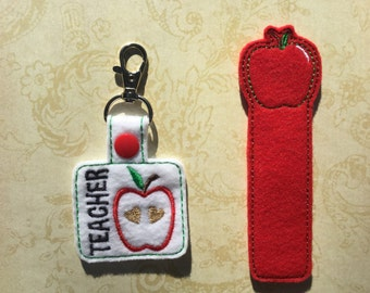 Teacher Set, Key Fob, Apple Bookmark