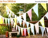 ENTIRE Store On SALE Wedding Bunting, Long Flag Pennant Banner, Event Decor, Photo Prop, 40 feet, Cotton Fabrics in a Mix of Designer's Choi