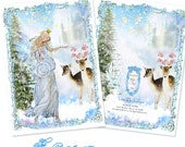 "The Blue Christmas Fairy Angel Set of Six 5 x 7"" Folding Cards and White Shimmer Metallic Envelopes and Seals"