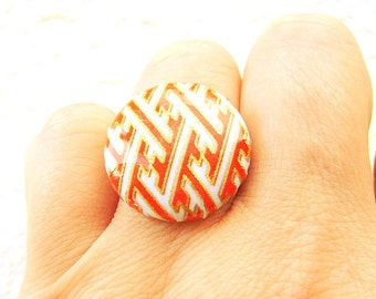 Japanese Ring -  Chiyogami Ring -  Japanese Paper Ring - Button Ring - Unique Ring - Orange White Gold -  Adjustable Ring - Adjustable Band