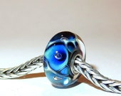 Luccicare Lampwork Bead - Ocean -  Lined with Sterling Silver