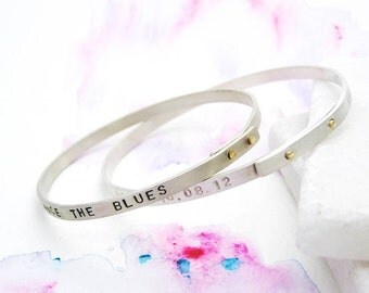 Personalised Silver & Gold Riveted Bangle | Unique Gift for Her | Sterling Silver Lyrics Bangle | Contemporary Silver Mantra Bangle