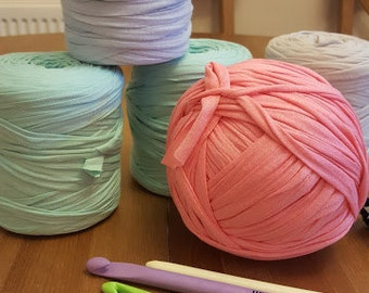 Pastel Colours Tshirt Yarn in Colours of Mint, Light Blue,Stone and Pink