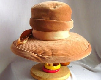 Good Looking MR JOHN Velvet Hat / 1960s Wide Brim Tall Crown / New Look Burnt Apricot / Winter Weight