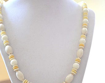 Bead Necklace, Japan Bead Strand Necklace, Yellow and White Beaded Necklace, Lucite Beaded Necklace, 1950s Necklace, Beaded Strand