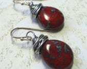 Earrings red  czech glass teardrop beads with silver wire wrapping