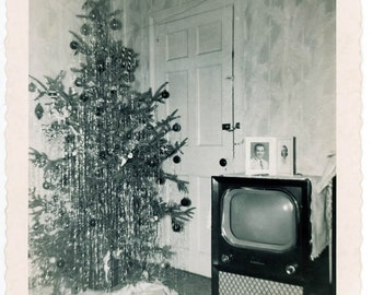 Vintage Snapshot 1955 TV Christmas Tree Mid Century XMAS SNapshot black and White Square