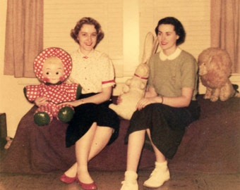 vintage photo 1954 Kodacolor Teenage Women Hold Giant Stuffed Dolls