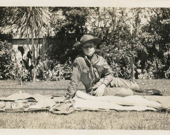 vintage photo 1938 Young American Boy Scout Lays Out his Gear Out on Lawn