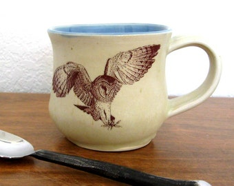 Coffee Mug - Large Mug - Pottery Mug - Ceramic Mug - Barn Owl -14 oz - Wheel Thrown Pottery