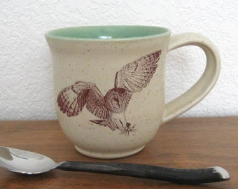 Large Mug - Coffee Mug  - Pottery Mug - Ceramic Mug - Barn Owl -13 oz - Wheel Thrown Pottery