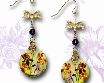 Iris Watercolor Dragonfly Dangle Earrings - Two Sided Glass Art Jewelry - Nouveau Jardin Collection - Golden Shimmery Purple Iris Earrings