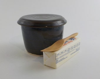 Stoneware Butter Keeper - French Style Ceramic Butter Crock - Kitchen Essential - Cooks Tool - Ready to Ship - Mixed Browns and Blue s488
